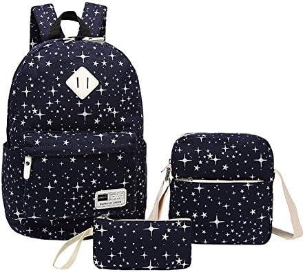 YipGrace Fashion Nouveau style frais imprimé étoile Filles Garçons sac de 3 pièces Pour les étudiants Sac à dos/Sac de messager/des bourse B01GZTC8Z4   En Vente