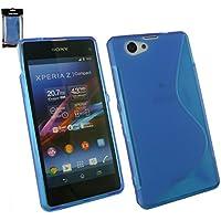 Emartbuy® Sony Xperia Z1 Compact Displayschutz Und Ultra Slim Griff Gel Case Hülle Schutzhülle Blau