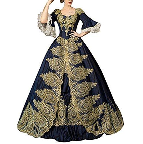 Nuoqi Damen Viktorianisches Kleid mit Underskirt Mittelalter Palace Royal Masquerade Partei Kostüm (dunkelblau, one Size)