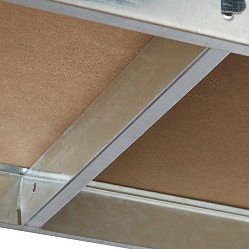 Relaxdays Schwerlastregal mit Werkbank, 900 Kg 5 Böden, Freistehend, HBT 180x 100 x 60 cm, Metall, MDF, Steckregal, grau - 5