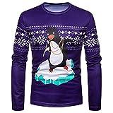 SEWORLD Weihnachten Christmas Herren Abend Party Männer Weihnachtskostüm Sankt Drucken Urlaub Humor Langarm T-Shirt Xmas Top(Violett,EU-46/CN-S)
