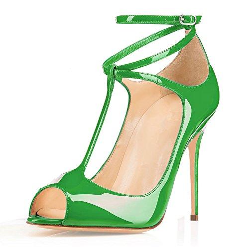 EDEFS Femmes Escarpins Talon Haut Bride Cheville Chaussures High Heel Bout Ouvert Vert