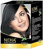 Neha Pflanzliche Natürliche Haarfarbe mit Henna & Kräutern - SCHWARZ   Soft Black (BOX: 10x15g=150g) Silk Glanz-Creme Gloss Mehandi