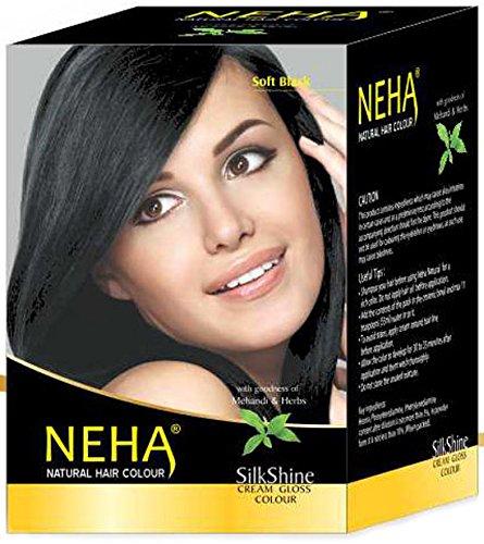 Neha Pflanzliche Natürliche Haarfarbe mit Henna & Kräutern - SCHWARZ | Soft Black (BOX: 10x15g=150g) Silk Glanz-Creme Gloss Mehandi (Kräuter Haar-farbe-creme)