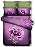 DecoKing Premium 60933 Bettwäsche 155x220 cm mit 1 Kissenbezug 80x80 violett 3D Microfaser Bettbezug Bettwäschegarnitur Rosa Rose Blumen Blumenmuster lila dunkelviolett lilac violet Lena