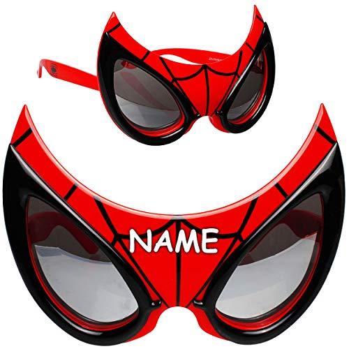 alles-meine.de GmbH 3D Effekt - Sonnenbrille - Spider-Man - inkl. Name - 3 bis 12 Jahre - 100 % UV Schutz - UV 400 - polarisiert verspiegelt / extrem stabil - Brille - für Kinder..