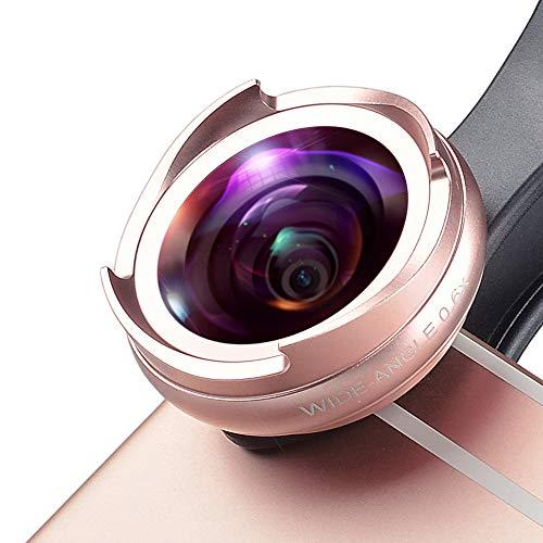 Zach-8 Telefon-Objektiv, 2-In-1 HD Smartphone-Kamera-Objektiv 0,6X Großer Weitwinkel + 10X Makro Geeignet Für iPhone/Huawei Samsung Und Alle Smartphone,Rosa