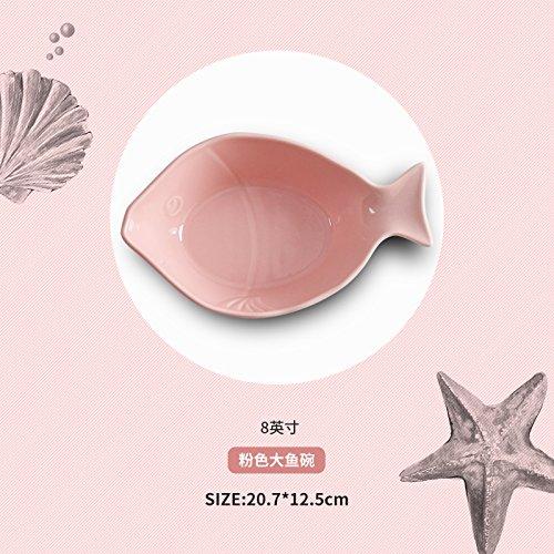 ren Schalen Keramik Geschirr Schüssel Nudeln Suppe Schüssel Fruit Salat Schalen, Big Fish pink Schale (20,3cm) (Essen Für Ein Luau)