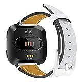 komise Strick Edge Ersatz Leder Armband Band weiche strapazierfähige Armband für Fitbit Versa, Band Länge: 205mm Einheitsgröße weiß