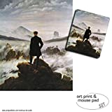 Set Regalo: 1 Póster Impresión Artística (50x40 cm) + 1 Alfombrilla Para Ratón (23x19 cm) - Caspar David Friedrich, El Caminante Sobre El Mar De Nubes, 1818