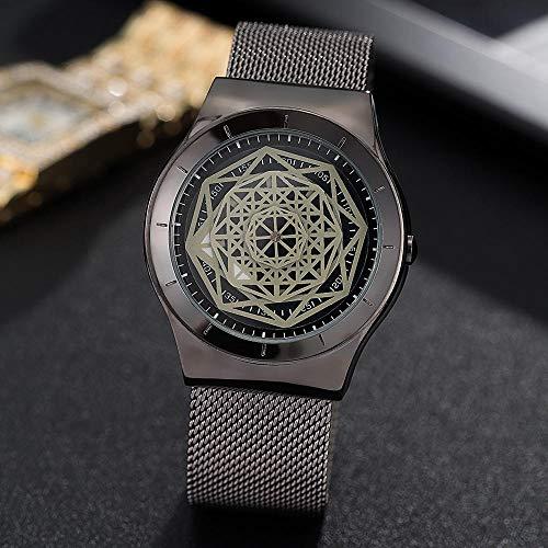 Persönlichkeit Watch_Fashion Trend Personalisierte Uhr Herrenuhr Creative Grid Dial Wide Net Studentblack -