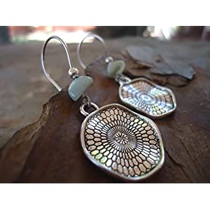 ✿ BOHO ETHNO MANDALA AMAZONIT STEIN ✿ lange Haken Ohrringe – einmaliges Geschenk – handgefertigt