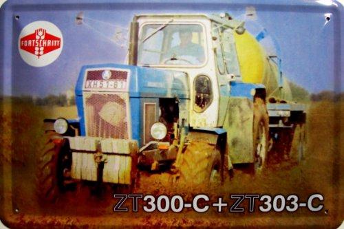 Fortschritt ZT 300-C / ZT 303-C blau Traktor und Anhänger DDR Blechschild 20 x 30 cm