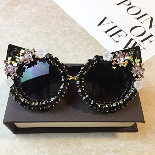 KJWELUQ Strass cat Eye Sonnenbrille Mode Brille Frauen Blume mit runde Sonnenbrille Strand