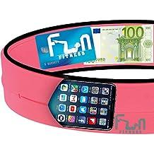 Cinturón deportivo (Rosa, S 65-71cm) – Riñonera Premium para Fitness - Banda Deportiva Ideal para teléfonos grandes, incluyendo el iPhone 7 más, y Samsung Note 4 - Perfecto para hacer ejercicio, para el Gimnasio, Yoga, ciclismo y viajes
