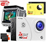 HDCool 4K Action Cam Wifi Action Camera 170 Gradi Fotocamera con Super Grandangolo Impermeabile Fotocamera Adatta agli Sport, Schermo LCD 2.0 Pollici for HC7000, 2 Batterie Incluse