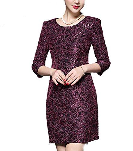 Ghope Femme 3/4 de Manche Plissee Vintage Decontracte Robe de Soirée Business Bodycon Causalite Crayons de Robe ,S- 3XL Vin rouge