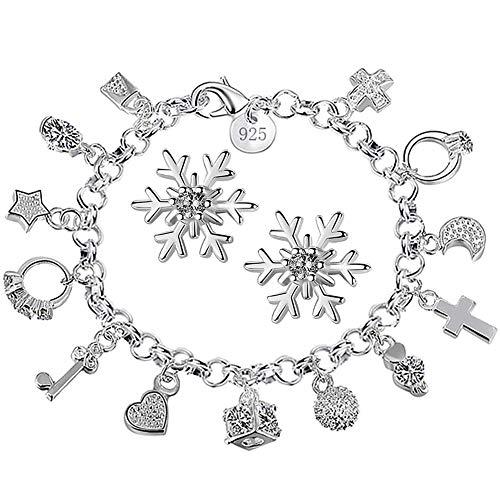 Xiton 1 Packung Charm Armband Silber überzogen Kristallanhänger Armband Snowflake-Bolzen-Ohrringe Modeschmuck Geschenk für Frauen Mädchen - Ear Schneeflocke Cuff