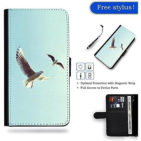 / Stylus for FREE / Protettiva Cassa Pelle Portafoglio Custodia CASE FOR Samsung Galaxy S6 Edge / # Piccioni uccello volare Sky Animal Minimal Natura #Pigeons Bird Fly Sky Animal Nature Minimal