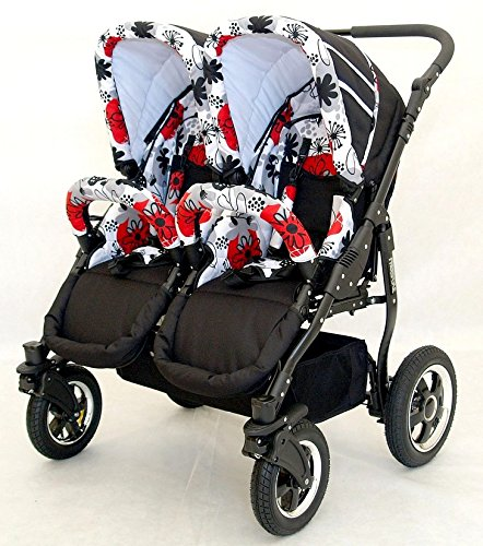 Complete Twin Pram - Carrycots, Chairs and Accessories - Black + Red BBtwin Colour: black + red. Includes 2 carrycots and 2 chairs plus leg cover, carrycot covers, bag backpack, lower basket, 2 plastic rain covers and 2 fly nets. - High-quality pneumatic, swivelling and shock-absorbent wheels. 3