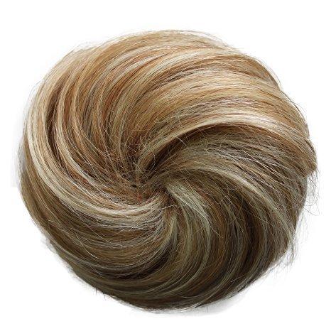PRETTYSHOP 100{12c8ef7b1dfab6875fbef769b417fbb438f41092cf8a624b7ecd8d44cf7882c7} ECHTHAAR Human Hair DUTT Hochsteckfrisuren Haarteil Zopf Haarknoten Hepburn-Dutt Haargummi blond mix
