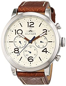 Tommy Hilfiger 1791230 - Reloj análogico de cuarzo con correa de cuero para hombre, color marrón/blanco Roto de Tommy Hilfiger