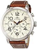 Tommy Hilfiger 1791230 - Reloj análogico de cuarzo con correa de cuero para hombre, color marrón/blanco Roto