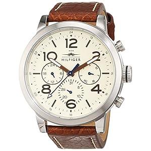 Tommy Hilfiger 1791230 – Reloj análogico de cuarzo con correa de cuero para hombre, color marrón/blanco Roto