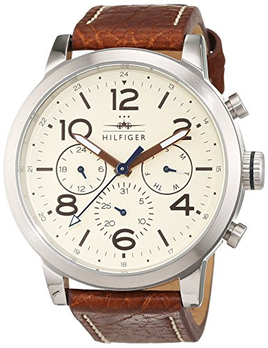 tommy-hilfiger-jake-mens-quartz-watch-with-off-white-dial-analogue-display-and-brown-stainless-steel