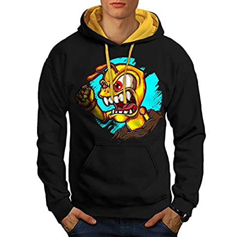 Ant Angry Monster Weird Pest Men NEW Black (Gold Hood) M Contrast Hoodie | Wellcoda