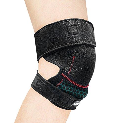 [Knie Stütze] GROOFOO [Kniebandage] Sport [Verstellbare Knieorthese] Atmungsaktive Neopren Knie-Klammer für Volleyball, Fußball - starkem Klettverschluss - Geschenkverpackung verfügbar - Unisex - Schwarz