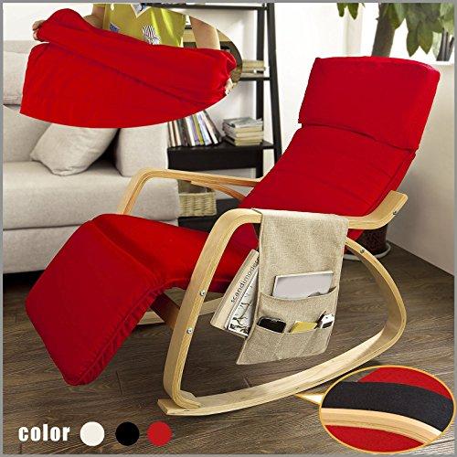 SoBuy® sillón de relada, Silla de relada, mecedora , con Organizador colgante, rojo, FST16-R,ES