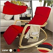 SoBuy® sillón de relada, Silla de relada, mecedora , con Organizador colgante, rojo, FST16-R,ES (Rojo)
