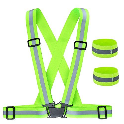 ZWOOS Seguridad Chaleco Reflectante Set + Dos Bandas, Sgodde Ajustable High Visibility Elastic Reflector Chaleco para Correr, Senderismo, Ciclismo, Carreras, Motorista
