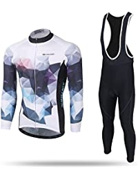 97df18cd5 LPATTERN Mens Cycling Jersey Long Sleeve Cycling Clothing Thermal Set(Biking  Top + Cycling Padded