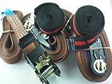 iapyx® - Set 4+2 cinghie elastiche da 6 metri con cinturino a cricchetto e portata 800 kg, qualità certificata En12195-2, colore: marrone + cinghia con chiusura a bloccaggio rapido, cinghia di ancoraggio carico Duo250 colore nero, 2.5m, iapyx®