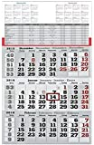 3 Monats Wandkalender 2016 mit Datumschieber in Rot, gefaltet passend für günstigen Umschlagversand, Dreimonatskalender werbefrei, 3 Monatskalender keine Werbung
