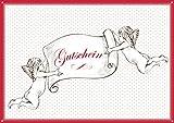 Erhältlich im 1er 4er 8er Set: Weihnachts-Gutschein als Klappgrusskarte/Weihnachtskarte/Glückwunschkarte/Neujahrskarte/Grusskarte/Gutscheinkarte mit 2 Engel, Sternen-Muster und roter Rahmen. (Mit Umschlag oder optional mit frankiertem Umschlag) (1)