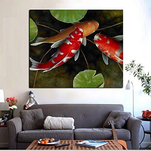 Rjjdd Chinesische Koi Fisch Lotus Leinwand Feng Shui Tier Landschaftsmalerei Wandkunst Bild Für Wohnzimmer Moder Dekoration Malerei - Koi Feng-shui Fisch