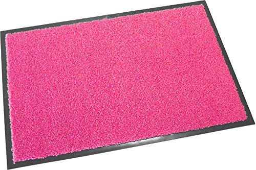 Hochwertige Fußmatte (Pink / 60x90 cm) waschbare Schmutzfangmatte - Höhe 8 mm - mit guter Wirkung gegen Nässe und Schmutz (bis zu 4L Wasser/m2)
