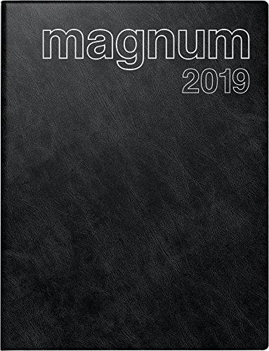 Baier & Schneider 702704290 Buchkalender magnum 2019, 2 Seiten = 1 Woche, 183 x 240 mm, Schaumfolien-Einband Catana schwarz