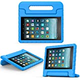 MoKo Nuevo Amazon Fire 7 2017 Funda ( 7 pulgadas, 7ª generación) - Portátil Shock Proof Lightweight Kids Protector Parachoque Cover Case con Manija para All-New Fire 7 Tableta, Azul