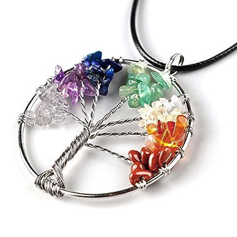 Imixcity Natural Amethyst Tree Of Life Quartz Gemstone Chips Stone Bead Pendant Necklace