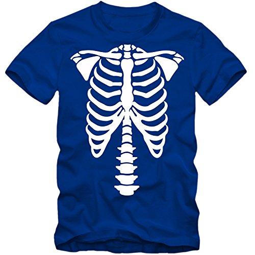 Kinder unisex T-Shirt Halloween Skelett Bones Party Shirt Tee S-3XL NEU, Farbe:blau;Größe:9-11 Jahre - Halloween Party Skelett