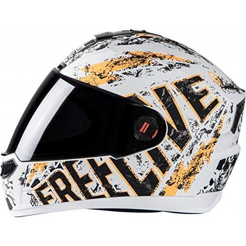 Steelbird Helmet SBA-1 Free Live with Smoke Visor and Matt Finish (Large 600MM, White with Orange)