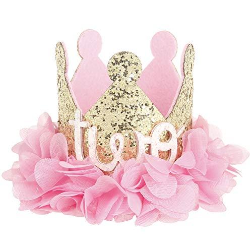 JoyFan Künstliche Rosen Blume Baby Prinzessin Tiara Krone Baby Mädchen Geburtstag Hut Sparkle Gold Flower Style, Filz, Rose, ()