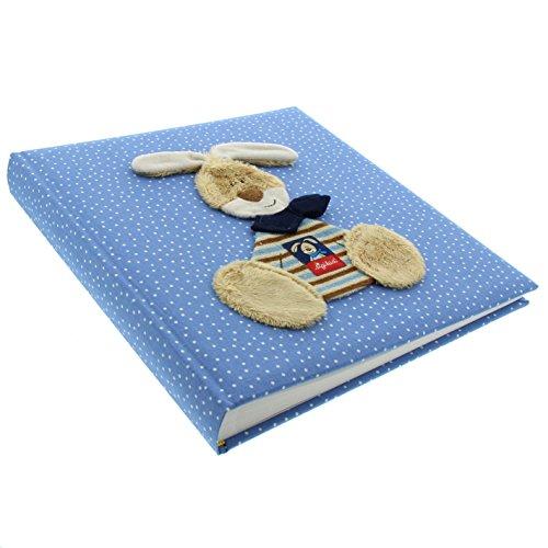 Goldbuch Babyalbum, Semmelbunny, 30 x 31 cm, 60 weiße Blankoseiten mit 4 illustrierten Seiten und Pergamin-Trennblättern, Leinen mit Applikation, Blau, 15594