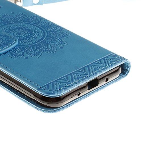 Galaxy J3 (2016) Hülle,Galaxy J3 (2016) Ledertasche Brieftasche im BookStyle,SainCat PU Leder Wallet Case Folio Schutzhülle [Shell Owl Muster] Hülle Lederhülle Bumper Handytasche Skin Schale Soft Back Blumenschale-Blau