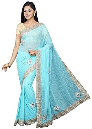Pavecha's Net Saree With Blouse Piece (MK3532_Blue_Free Size)