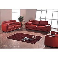Design Voll-Leder-Sofa-Garnitur-Polstermöbel-Sessel 351-3+2+1